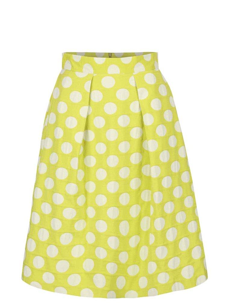 Svetlozelená sukňa s krémovými bodkami Closet
