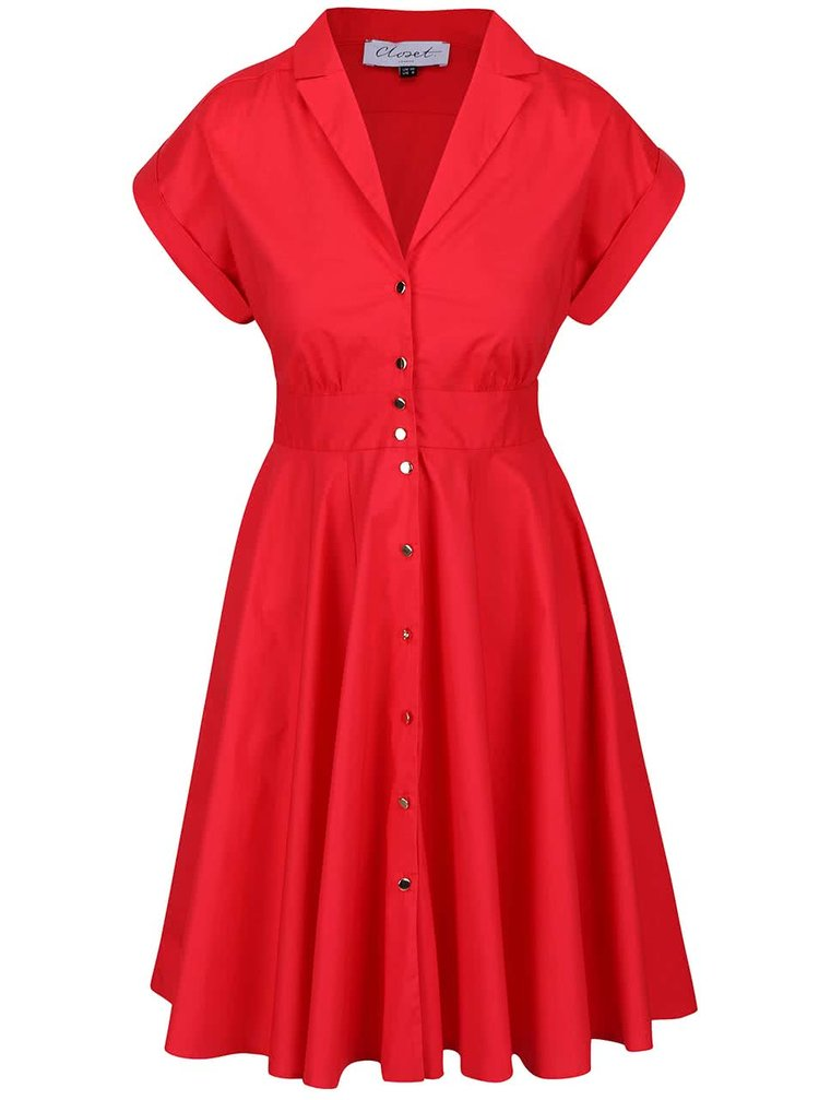 Rochie roşie Closet cu nasturi metalici