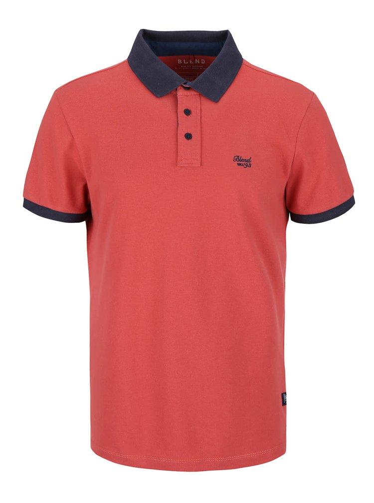 Cihlově červené polo triko s modrošedými detaily Blend