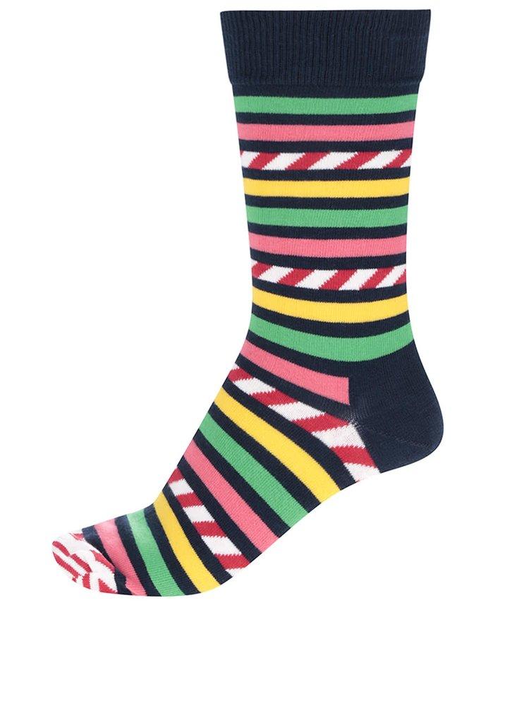 Tmavě modré pánské pruhované ponožky Happy Socks Stripe&Stripe