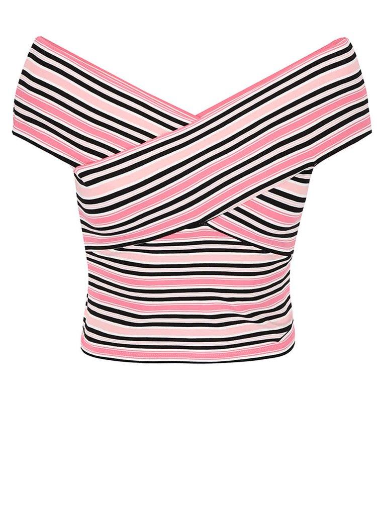 Čierno- ružový pruhovaný top Miss Selfridge