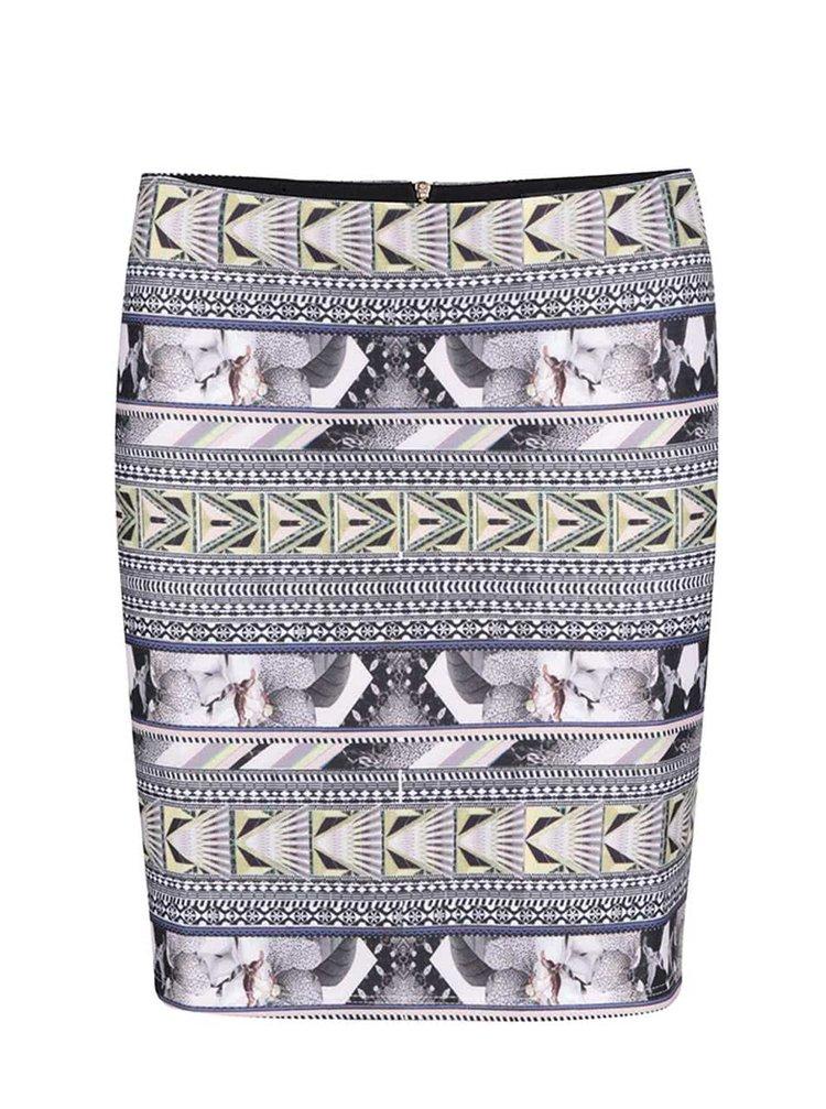 Černá sukně s tropickým vzorem Miss Selfridge