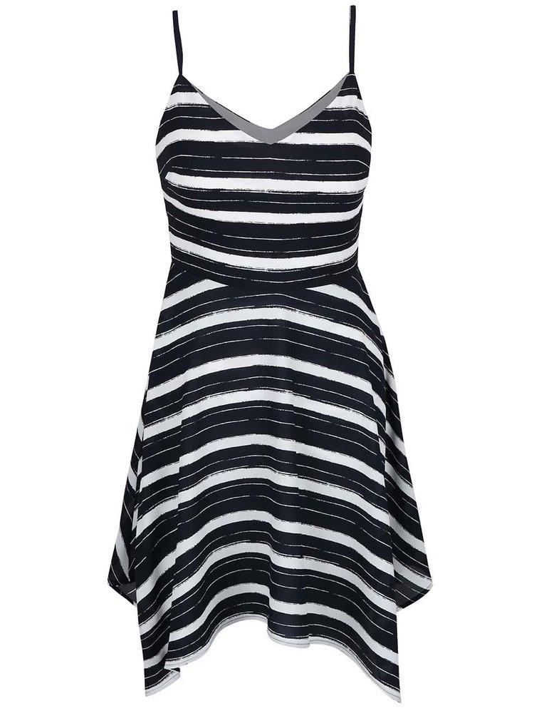 Krémovo-modré pruhované šaty na ramínka Miss Selfridge