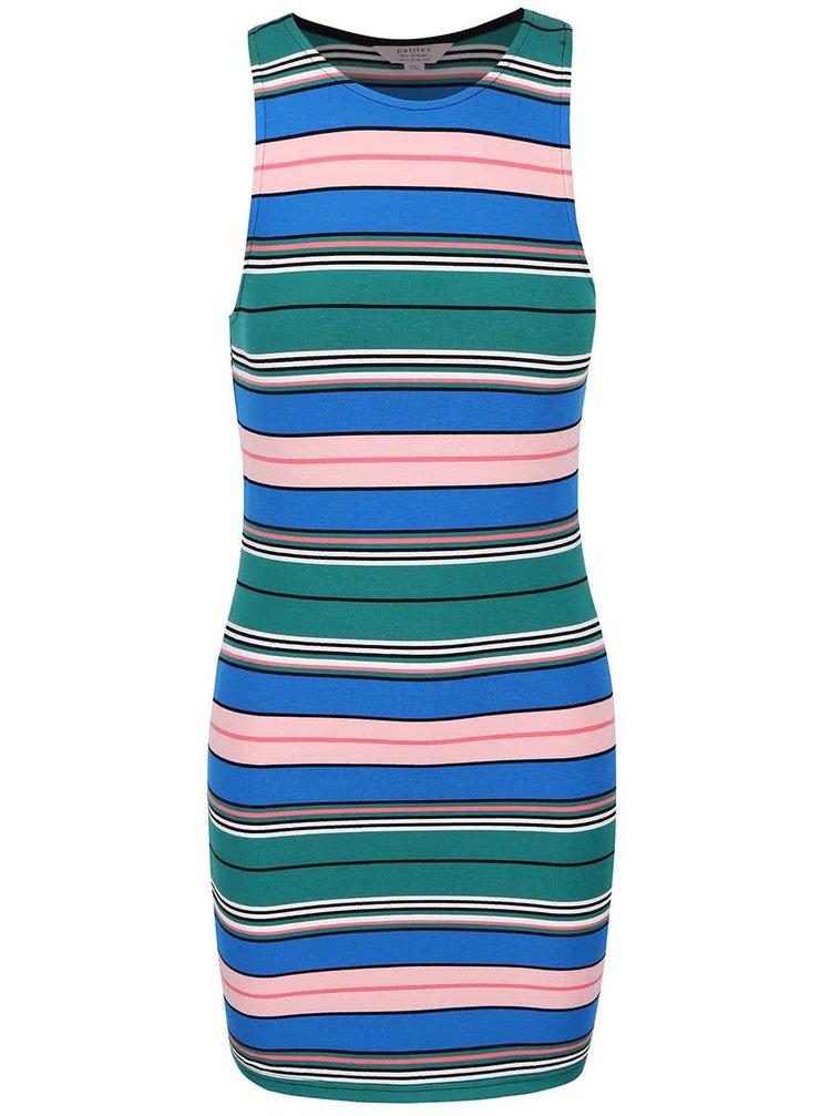Modro-zelené pruhované šaty Miss Selfridge Petites