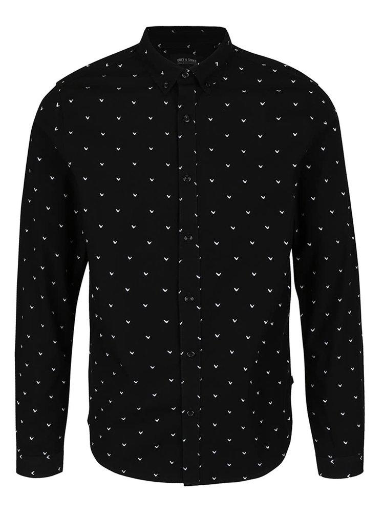 Černá vzorovaná slim fit košile ONLY & SONS Bob