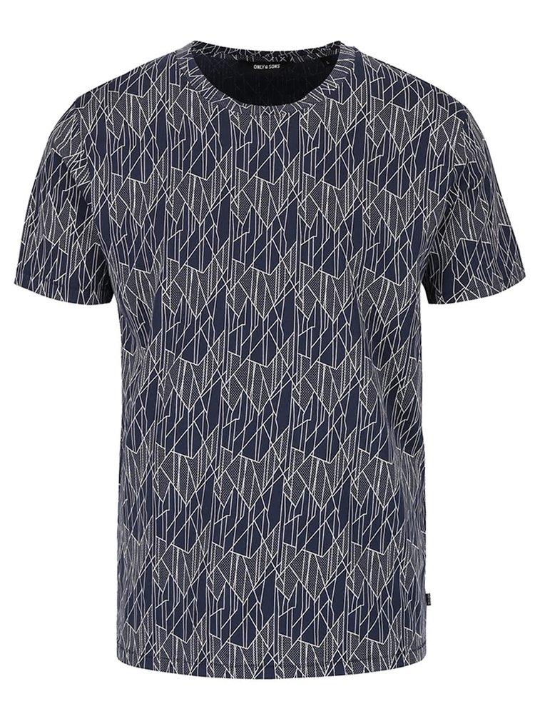 Tmavomodré tričko so vzorom ONLY & SONS Now