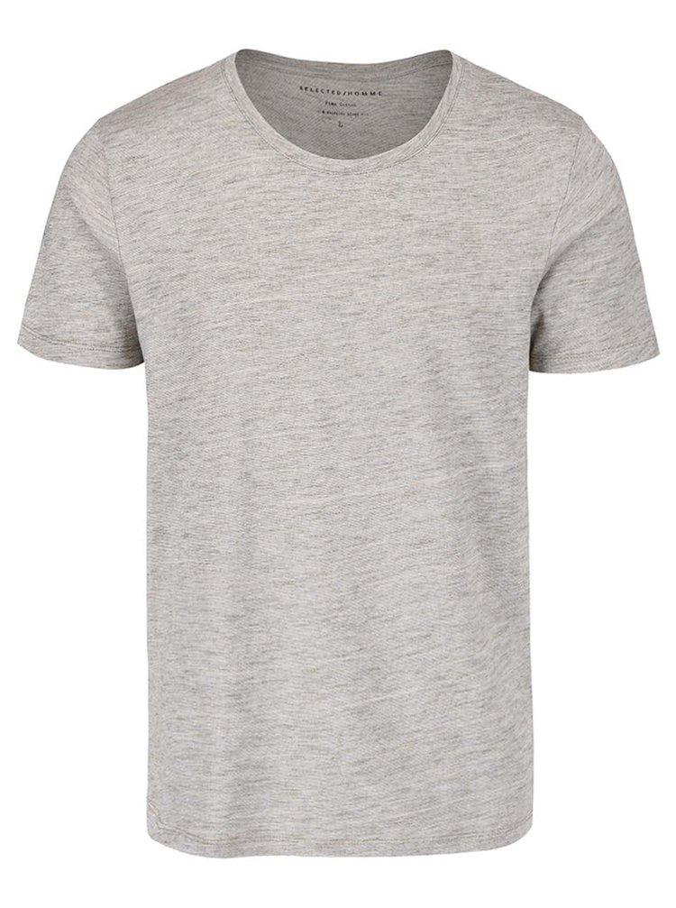 Šedozelené žíhané triko s kulatým výstřihem Selected Homme Pima Dave