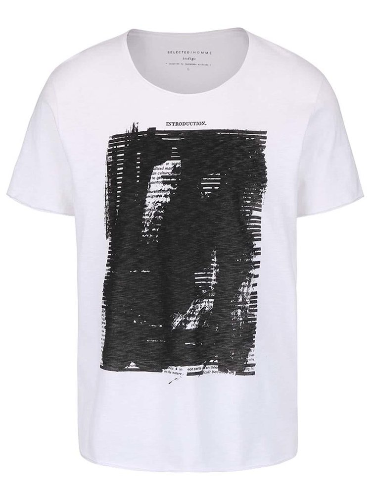 Tricou alb Selected Homme Deep Intro cu print
