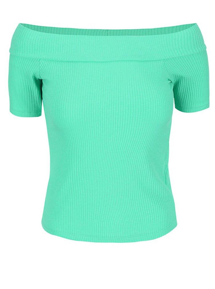 Zelené tričko s odhalenými rameny Miss Selfridge