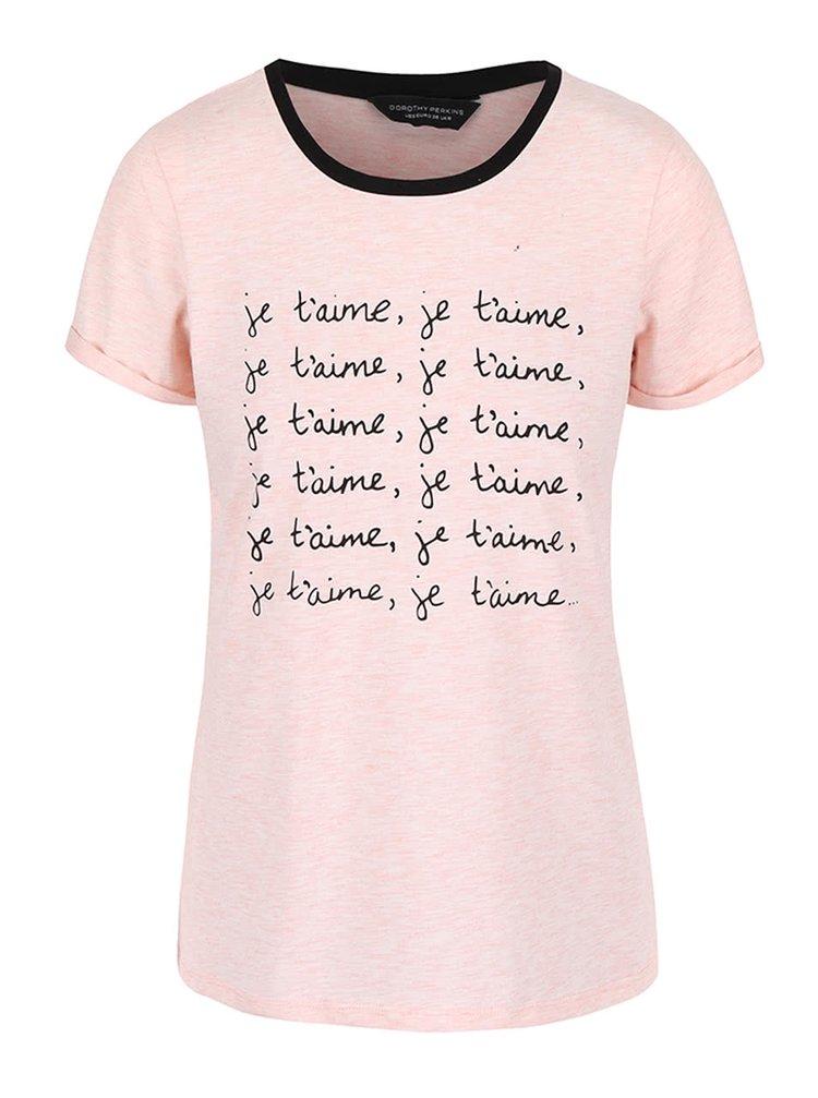 Růžové tričko s potiskem Dorothy Perkins