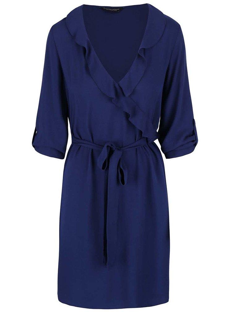 Tmavě modré šaty s volánkovým výstřihem Dorothy Perkins