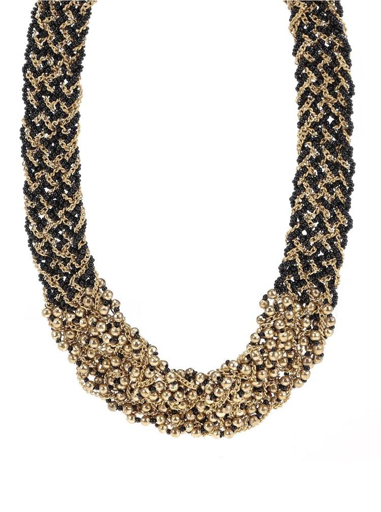 Colier negru cu auriu Pieces Pina tip împletitură