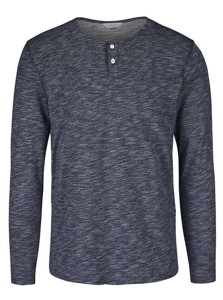 Tmavomodré melírované tričko s dlhým rukávom Jack & Jones Mason