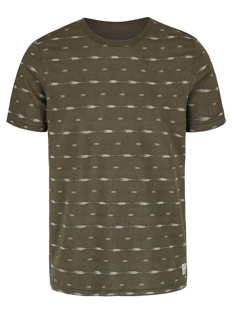 Olivově zelené vzorované triko Jack & Jones Steve