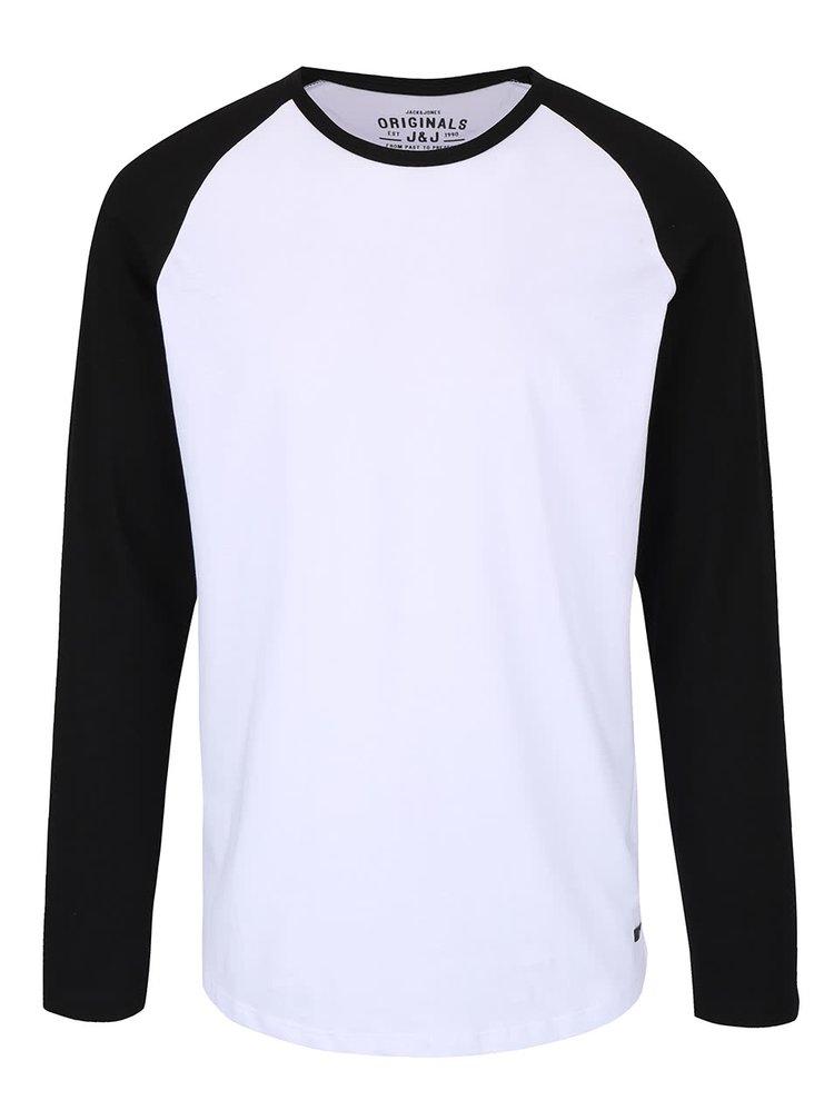 Bílé tričko s černými rukávy Jack & Jones Stan