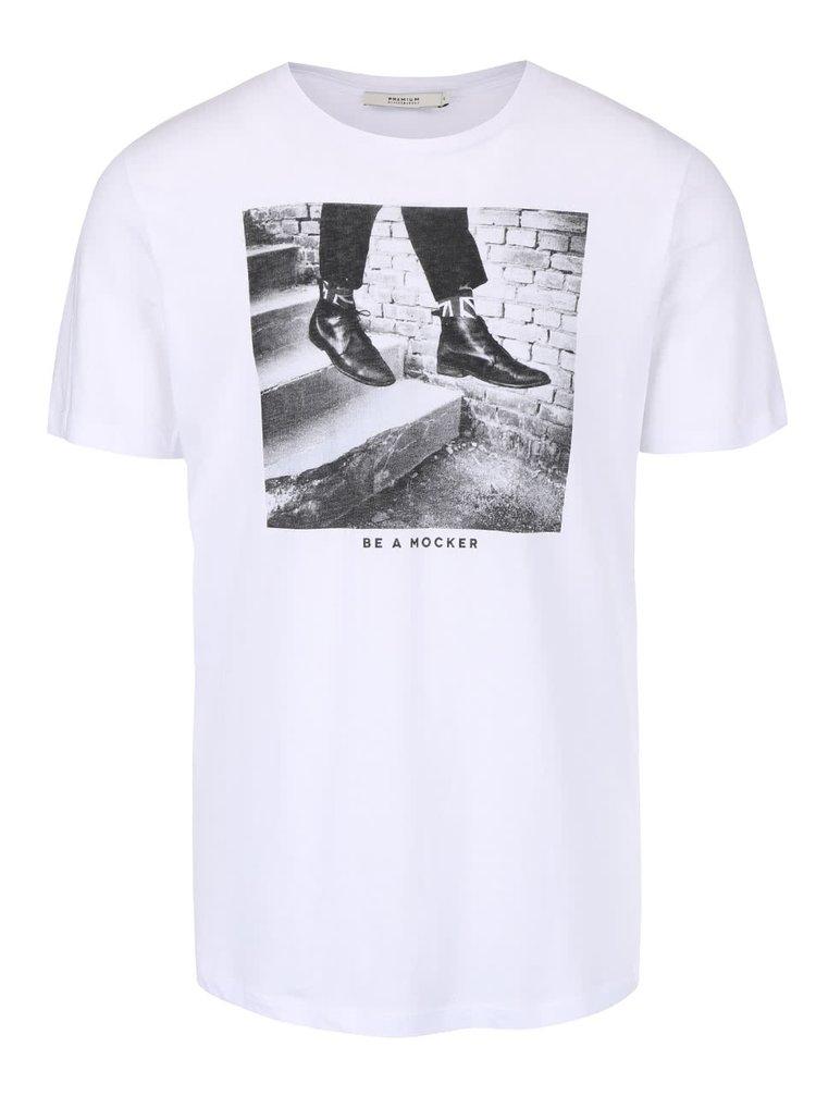 Bílé triko s potiskem Jack & Jones Weston