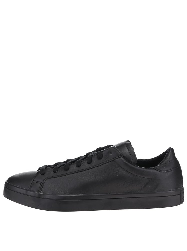 Čierne pánske kožené tenisky adidas Originals Court Vantage