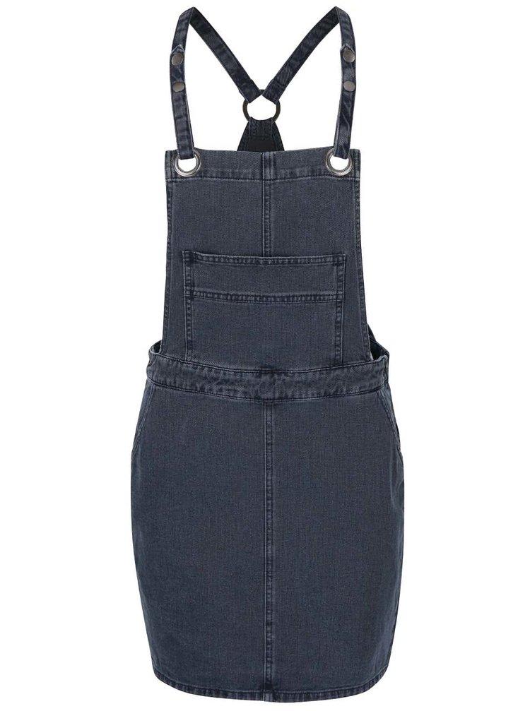 Tmavosivé rifľové šaty s trakmi VILA Setta
