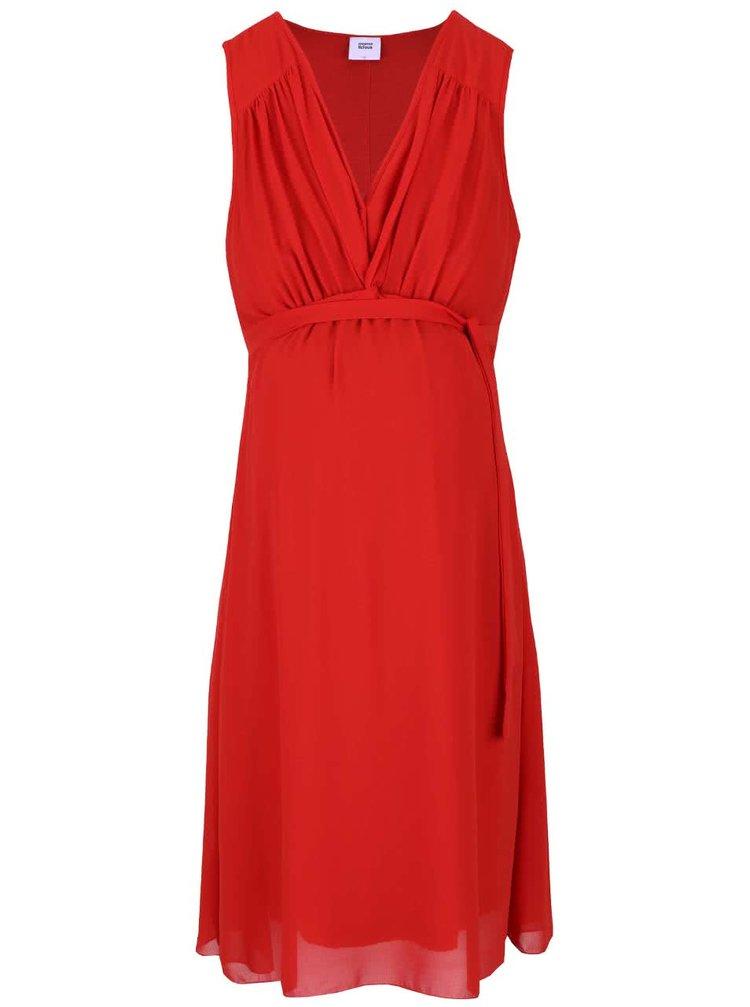 Červené tehotenské šaty s véčkovým výstrihom Mama.licious Calla