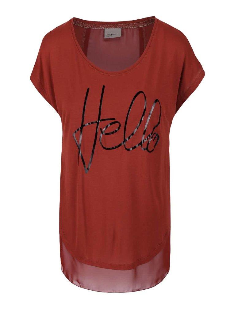 Hnědočervené tričko VERO MODA Stine