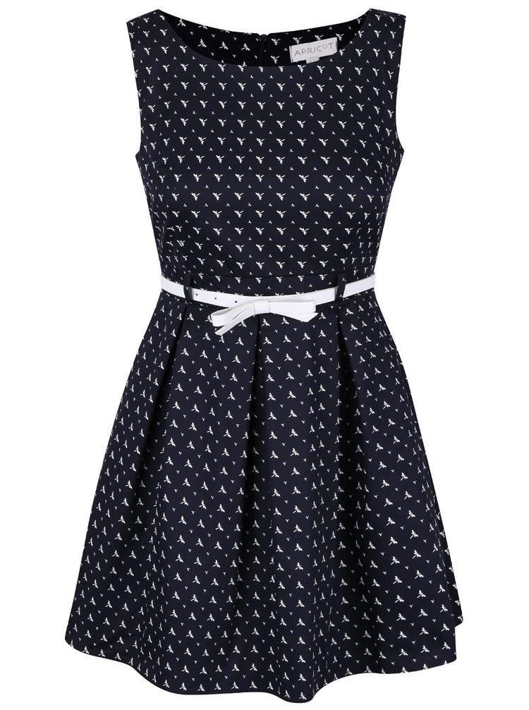 Tmavě modré vzorované šaty s bílým páskem Apricot