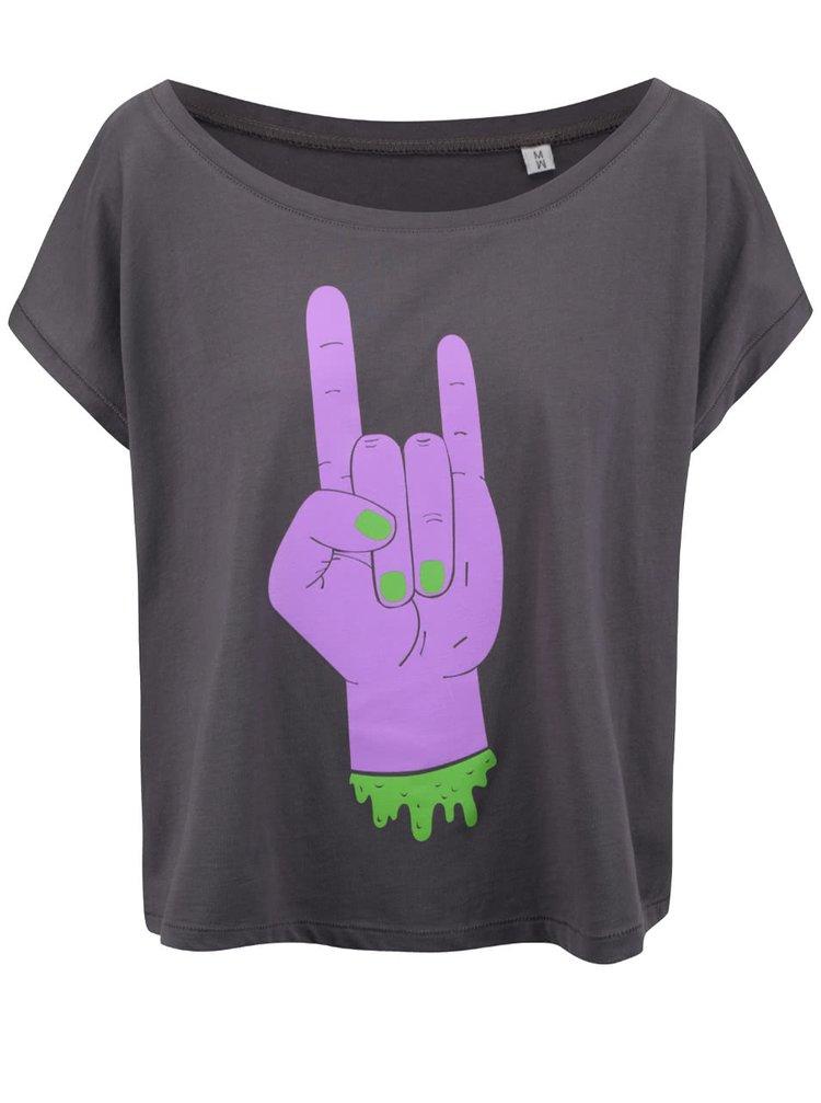 Tmavosivé dámske voľnejšie tričko ZOOT Originál Pankáč