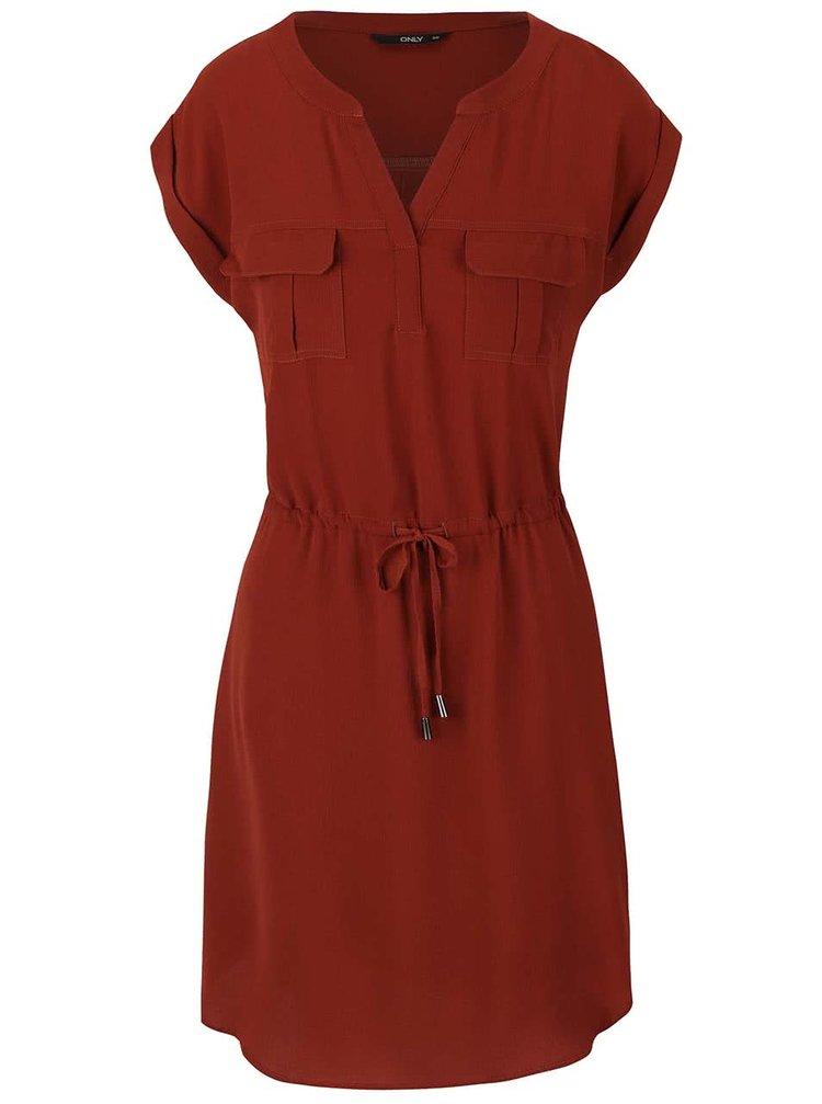 Tehlové šaty so stihnutím v páse ONLY Vertigo