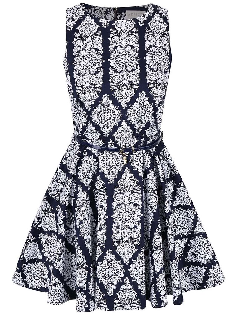 Tmavomodré šaty s bielym vzorom Apricot