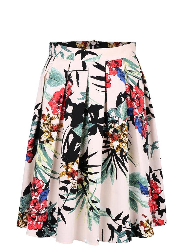 Světle růžová květovaná skládaná sukně Dorothy Perkins