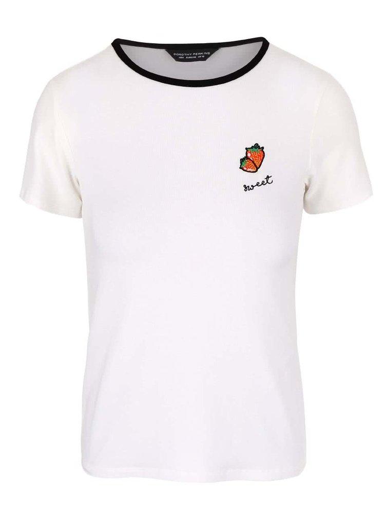 Tricou crem Dorothy Perkins cu aplicație căpșună