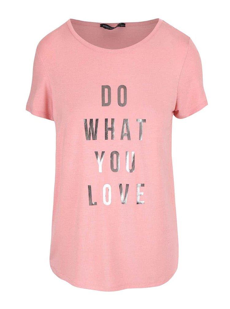Tricou roz Dorothy Perkins cu text