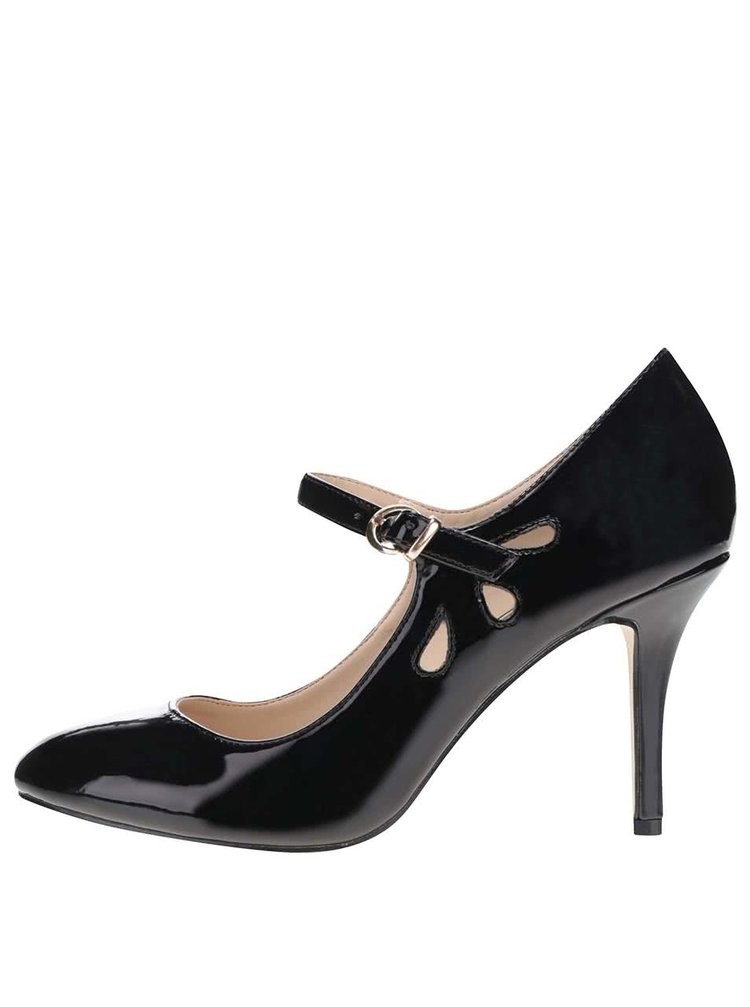 Černé lesklé boty na podpatku s páskem Dorothy Perkins