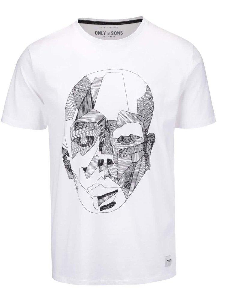 Biele tričko s potlačou ONLY & SONS Kody