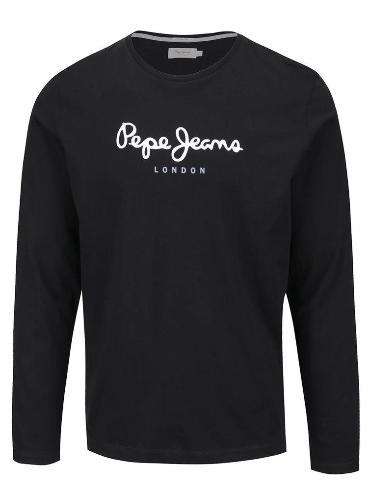 Černé pánské triko s dlouhým rukávem Pepe Jeans Eggo long