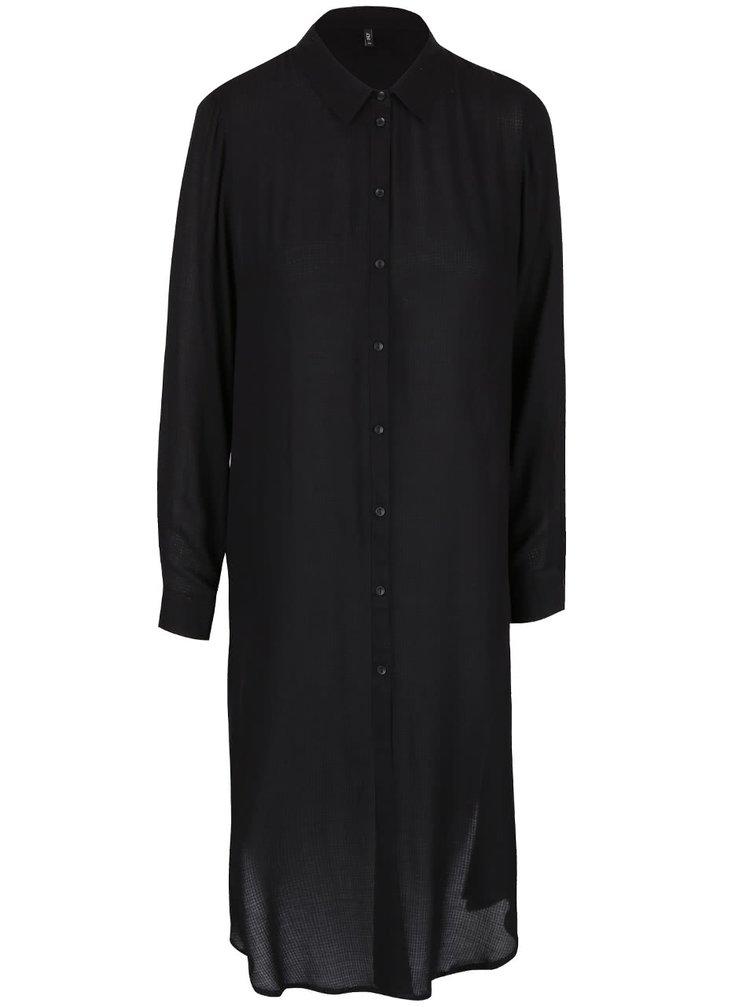 Čierna dlhá košeľa s výstrihom na chrbte ONLY Poet Radmila