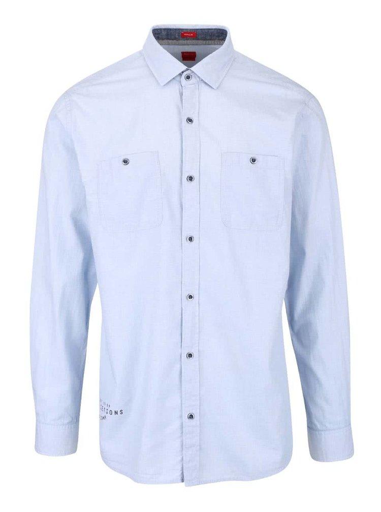 Modrá pánska neformálna košeľa s vreckami s.Oliver