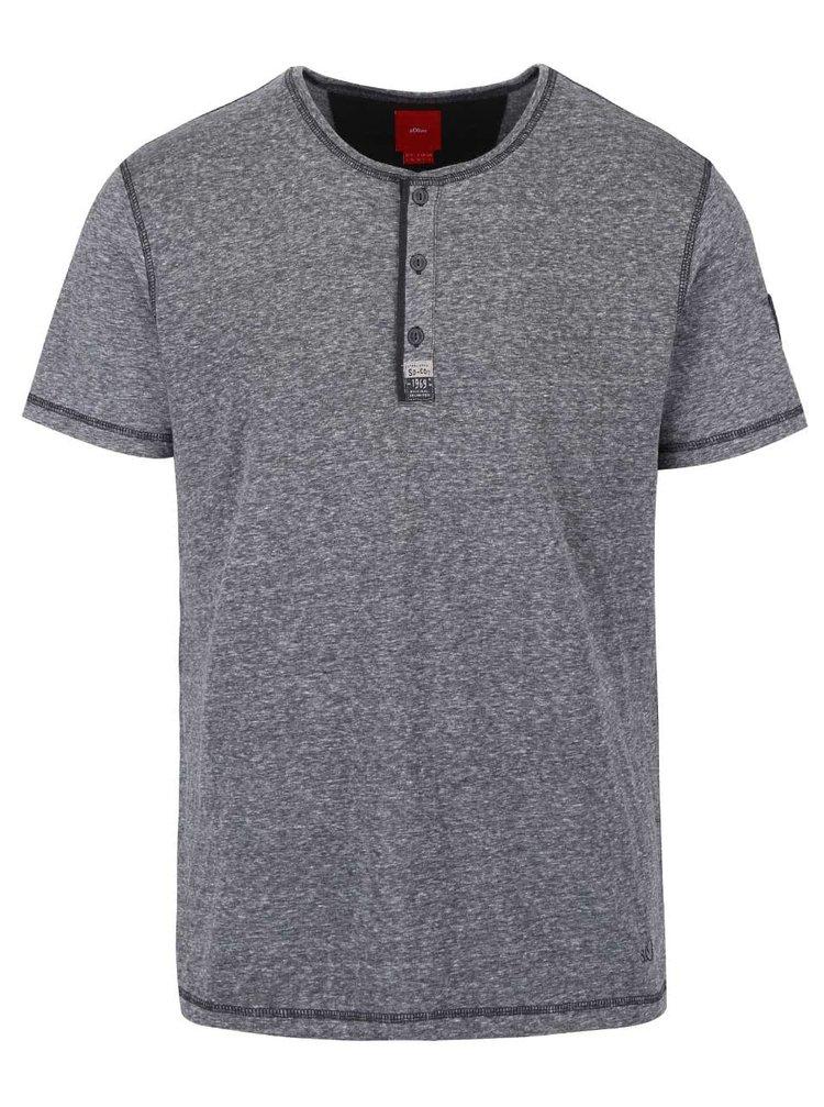 Tmavě šedé pánské žíhané triko s knoflíčky s.Oliver