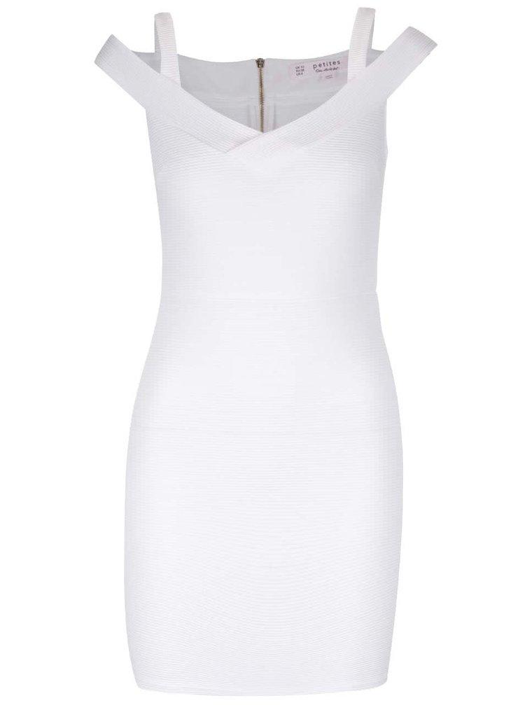 Krémové šaty s prestrihmi na ramenách Miss Selfridge Petites