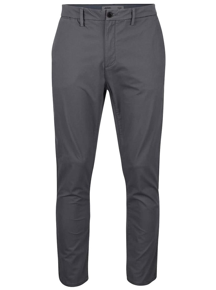Pantaloni chinos gri-închis slim fit Burton Menswear London
