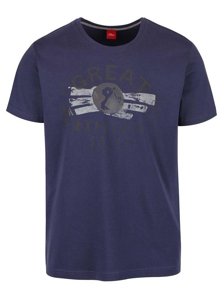Tmavomodré pánske tričko s potlačou s.Oliver