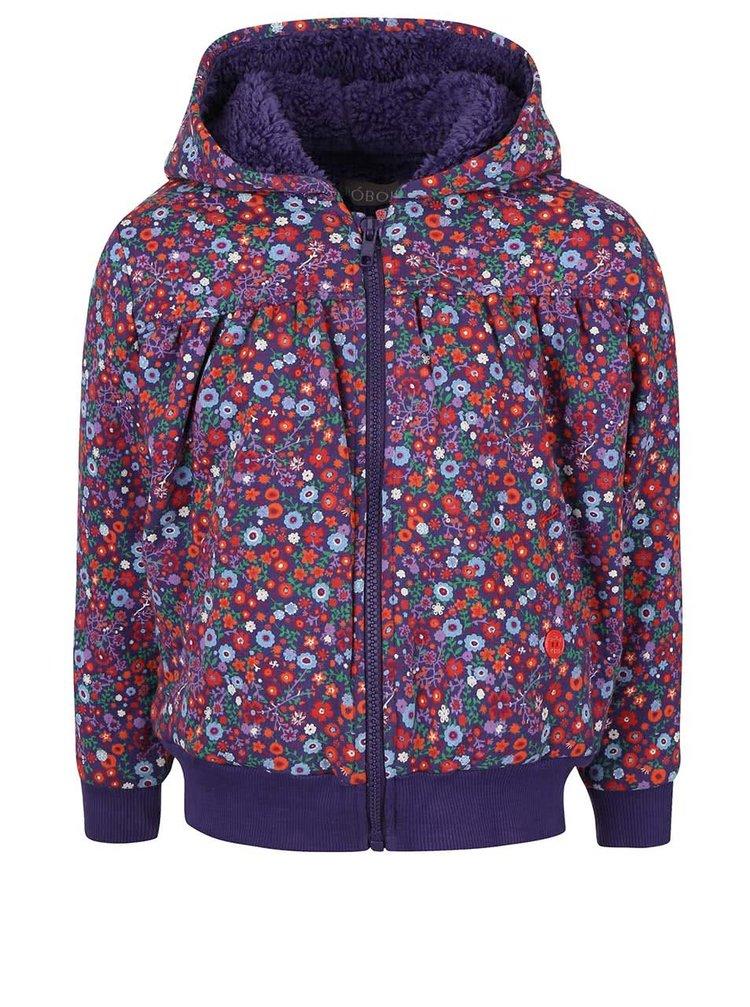 Fialová holčičí fleecová bunda s květinovým vzorem Bóboli