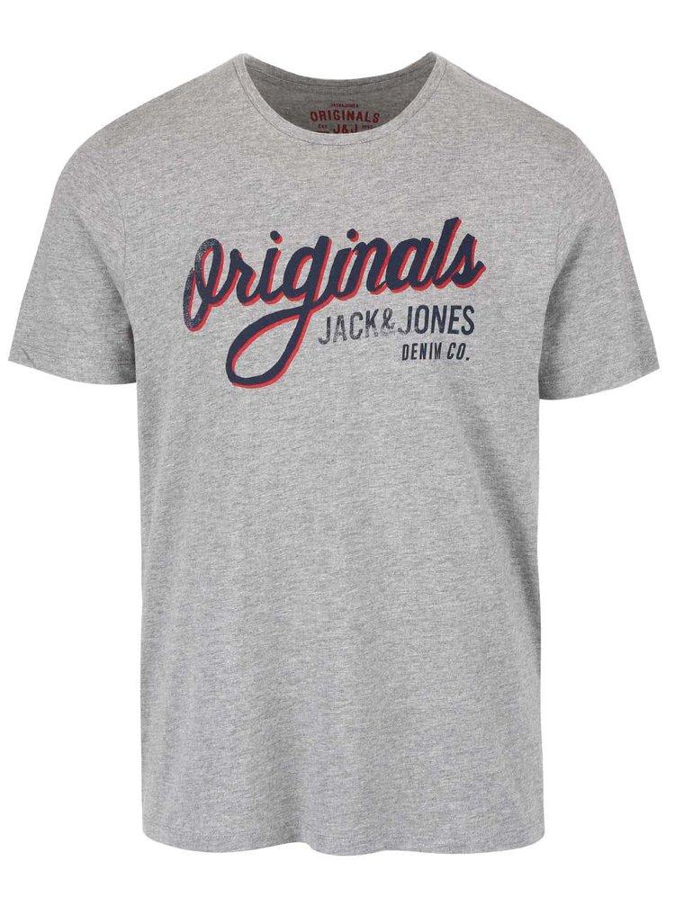 Šedé žíhané triko s potiskem Jack & Jones Type