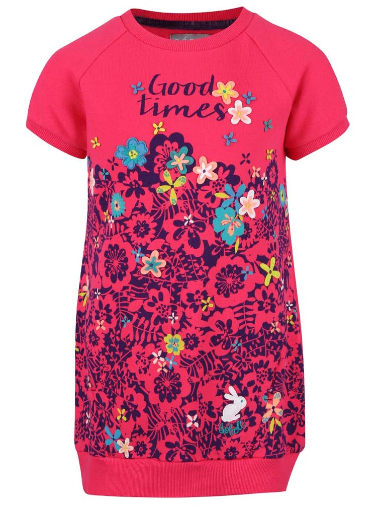 Růžové holčičí teplákové šaty s květinovým potiskem Bóboli