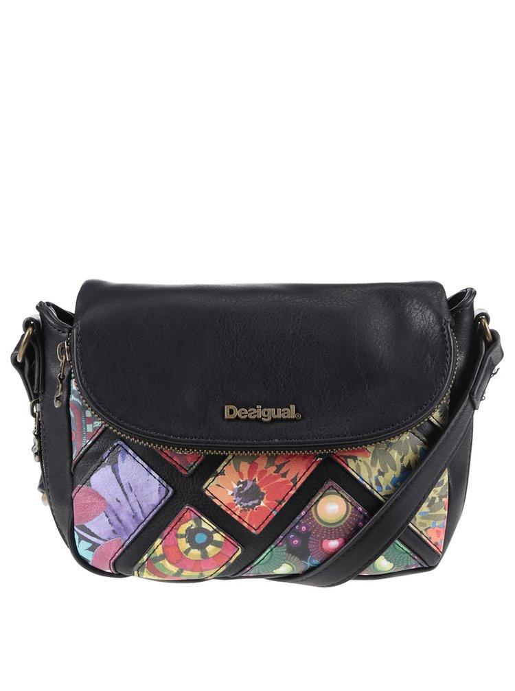Čierna crossbody kabelka s farebnými kvetmi Desigual Breda Indiana