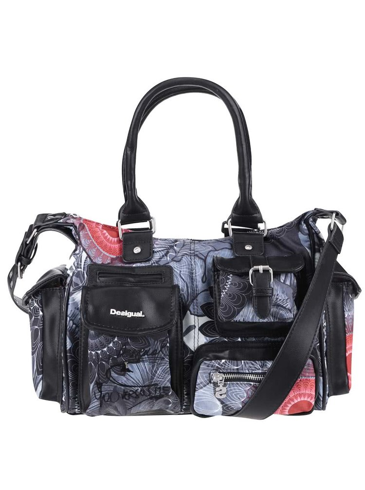 Šedo-černá vzorovaná kabelka Desigual London