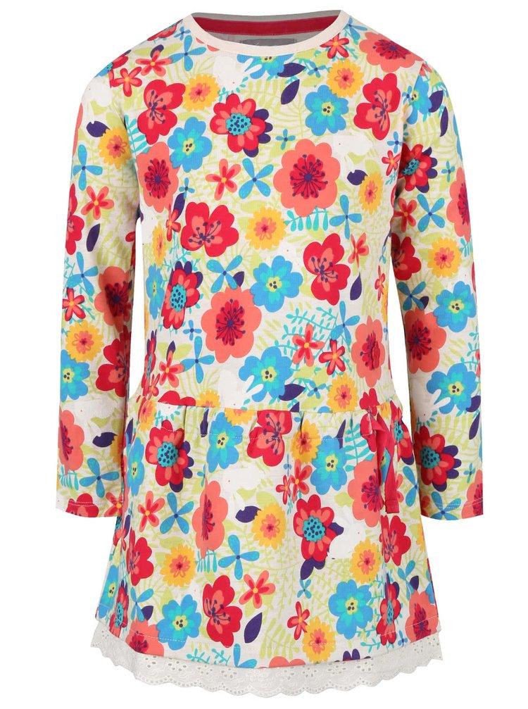 Krémové dievčenské šaty s kvetinovým vzorom a volánikom Bóboli