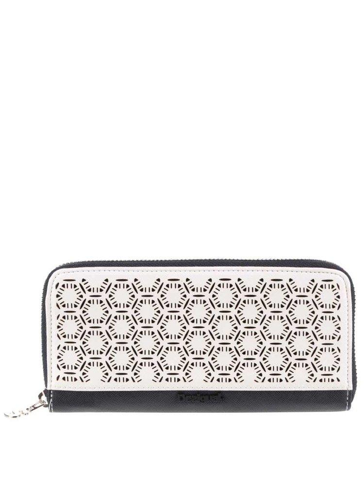 Čierno-krémová vzorovaná peňaženka Desigual Olga