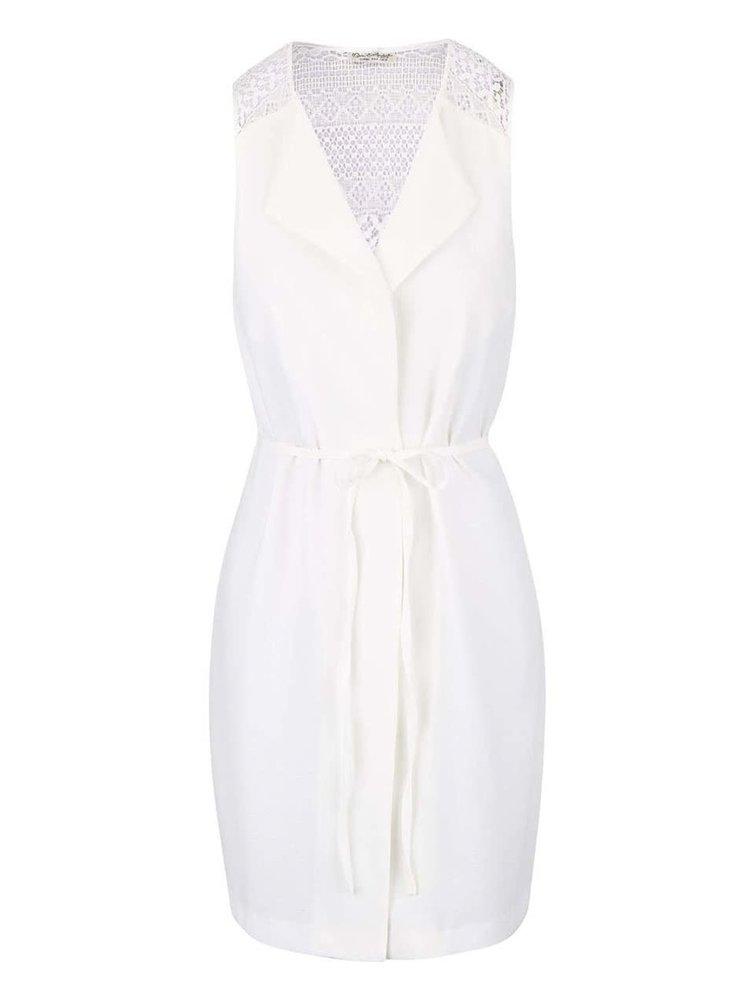 Krémová dlhá vesta s opaskom Miss Selfridge