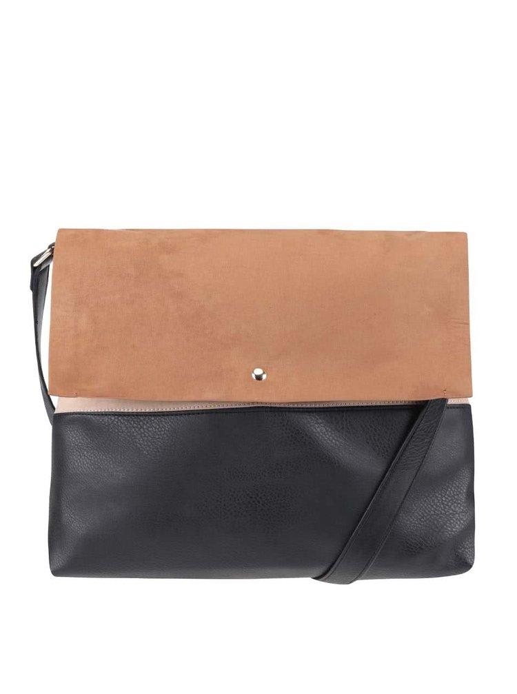 Černo-hnědá kabelka s klopou v semišové úpravě Dorothy Perkins