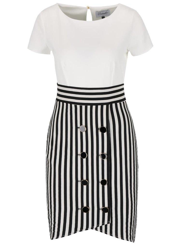 Bielo-čierne šaty s pruhovanou sukňou Closet